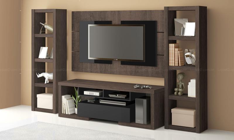 Tamanho Certo De Tv Para Sala ~ De Mais Modernidade Para Sua Sala Com um Rack com Painel Para Sala