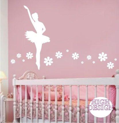 adesivos de bailarina para parede de quarto de bebe