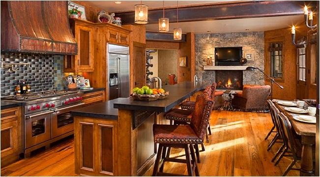 decoração com móveis para cozinha rústica