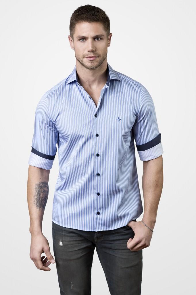 camisas masculinas dudalina manga curta listrada
