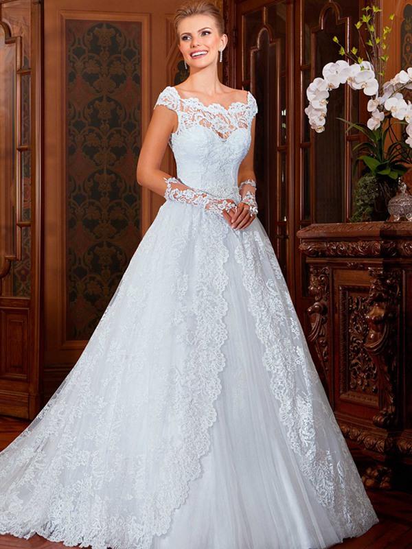vestido com decote de renda de noiva