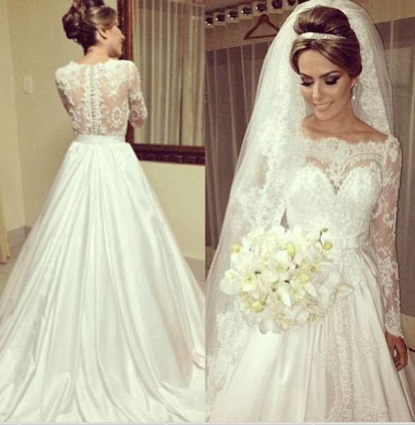 vestidos de noiva com manga francesa