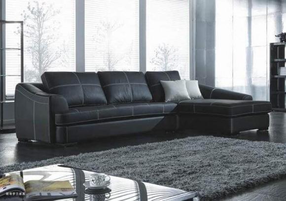 sofas-de-couro-preto-de-canto